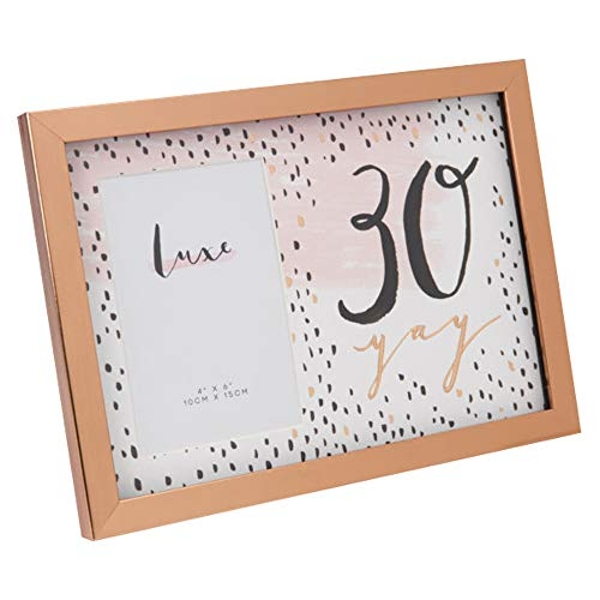 """4"""" x 6"""" - Luxe Rose Gold Birthday Frame - 30"""