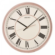 Seiko QXA614P Roman Numeral Wall Clock with Sweep Second Hand Rose Gold Case