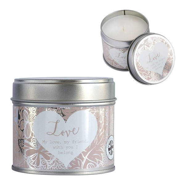 Said with Sentiment Candles in Tin Love