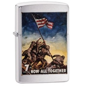 Zippo U.S. Marine Corps. Now All Together Brushed Chrome Finish Windproof Lighter