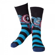 Marvel Comics Captain America Adult Male Striped Blue Crew Socks 43/46
