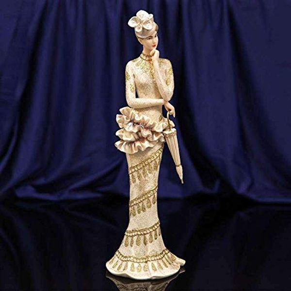 Bolero Collection Lady Figurine in Gold Trimmed Dress 34cm