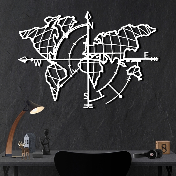 World Map Compass - White White Decorative Metal Wall Accessory