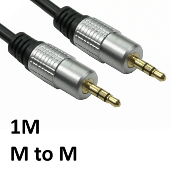 3.5mm (M) Stereo Plug to 3.5mm (M) Stereo Plug 1m Black with Gold Connectors OEM Cable