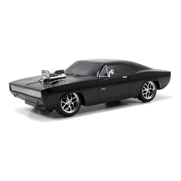 Fast & Furious - The Fast and the Furious Dom's 1970 Dodge Charger R/T Remote Control Toy Muscle Car (Black)