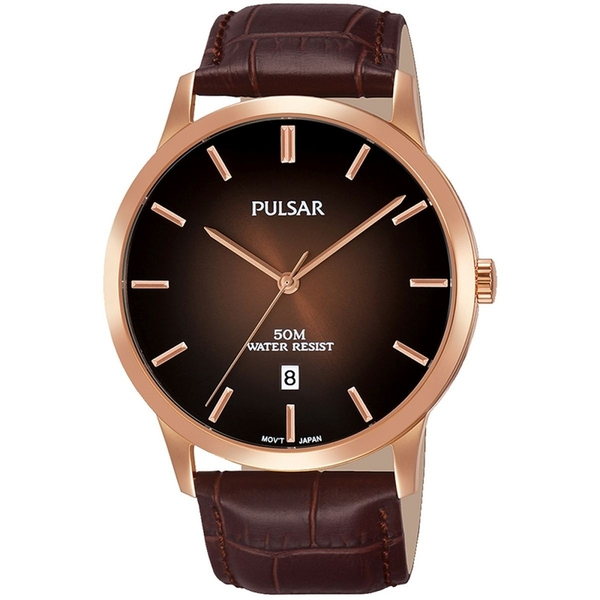 Pulsar PS9534X1 Mens Brown Classic Leather Strap Rose Gold Case 50M Watch