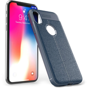 iPhone X Auto Camera Focus Leather Effect Gel Case - Blue