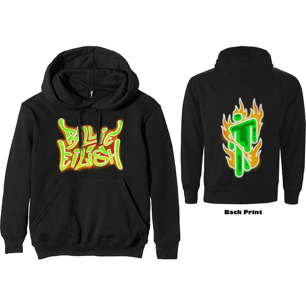 Billie Eilish - Airbrush Flames Blohsh Unisex XX-Large Hoodie - Black