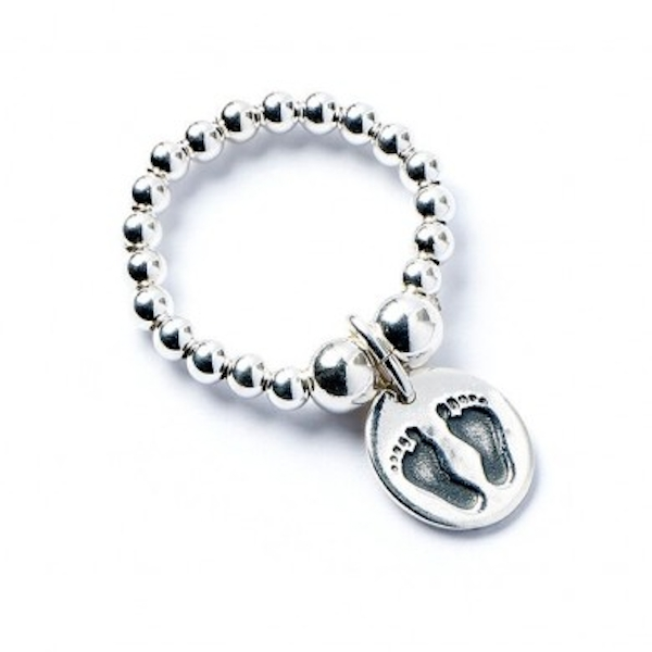Footprints with Sterling Silver Ball Bead Ring