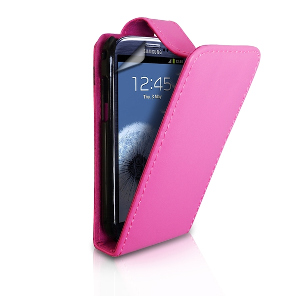 88b8e4b7f66b YouSave Accessories Samsung Galaxy S3 Leather-Effect Flip Case - Hot Pink