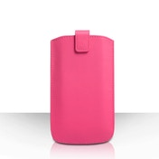 Caseflex Leather-Effect Auto Return Pull Tab Pouch (L) - Hot Pink