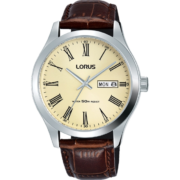 Lorus RXN53DX9 Mens Padded Brown Leather Strap Dress Watch with Prosecco Shaded Dial