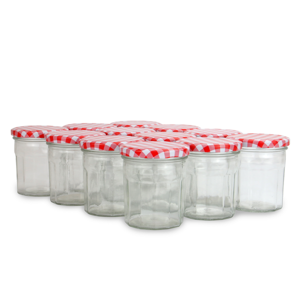 Set of 12 Wide Mouth Glass Jam Jars | M&W