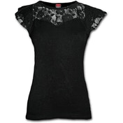 Gothic Elegance Lace Layered Cap Sleeve Women's Large Short Sleeve Top - Black