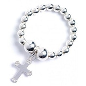 Sterling Silver Ball Bead Toe Ring with Cross Charm