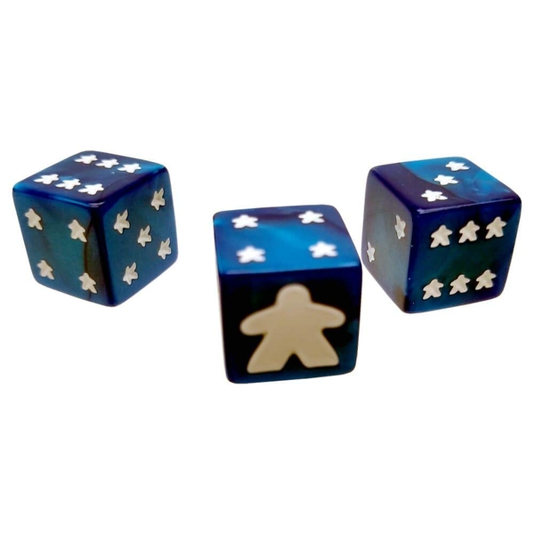 Meeple D6 Dice Set - Blue