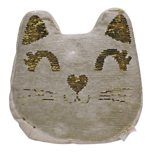 Sequin Cat Cushion, 30cm