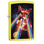 Zippo Pizza Cat Neon Yellow Finish Windproof Lighter