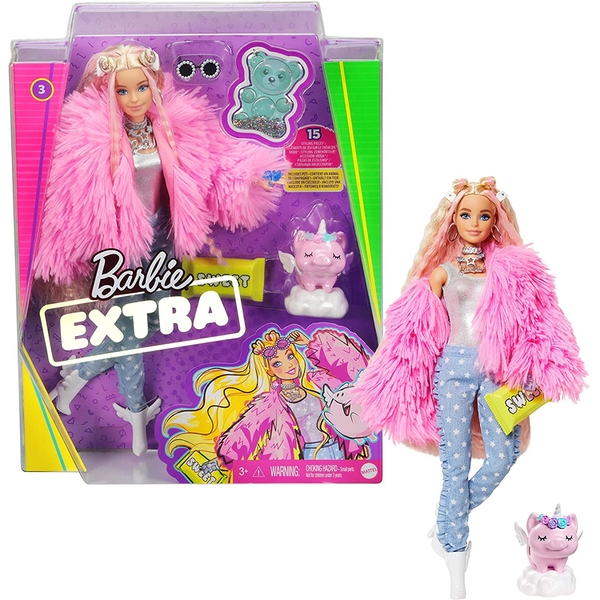 Barbie - Extra Doll in Pink Fluffy Coat with Unicorn-Pig Toy