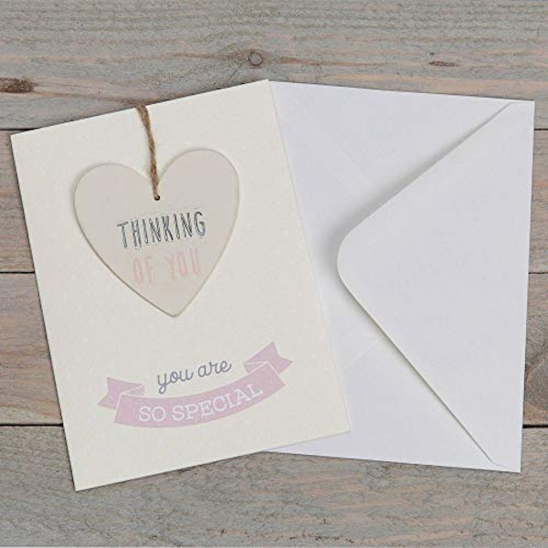 Greeting Card with Heart Plaque- Thinking of You