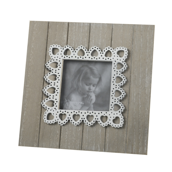 Natural Wooden Photo Frame with White Heart Detail By Heaven Sends