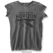 Bring Me The Horizon: Wound with Burn Out Finishing Ladies Large T-Shirt- Grey
