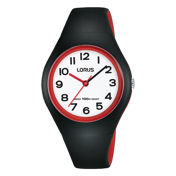 Lorus RRX99FX9 Youths Black Silicone Watch with Fulll Number Display And White Dial
