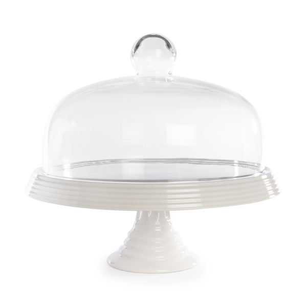 Ceramic Cake Stand with Glass Cover | M&W