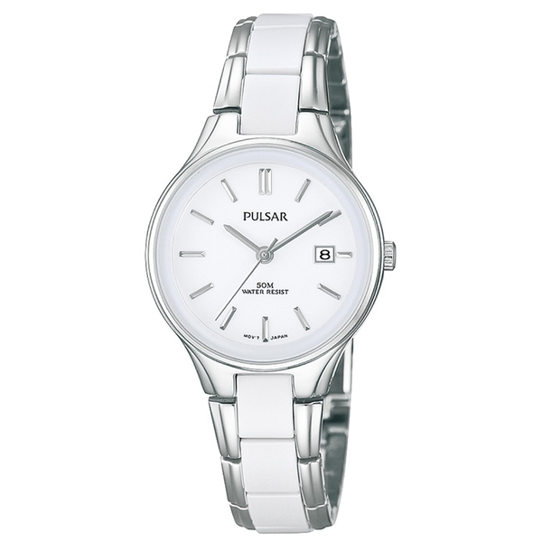 Pulsar PH7267X1 Ladies Stainless Steel Bracelet With Ceramic Accents White Dial 50M Watch