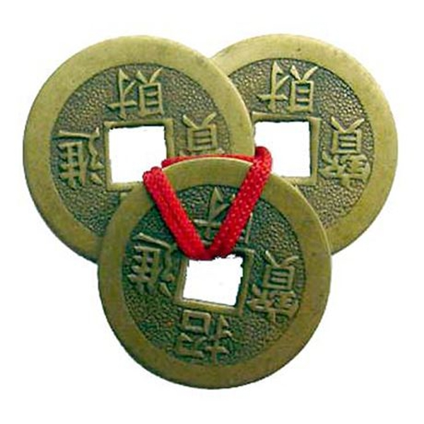 Feng Shui Three Coins With Red Ribbon | Set of 20