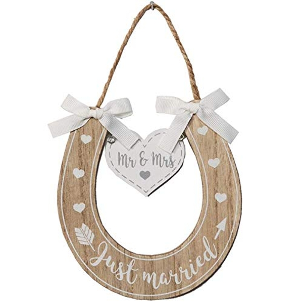 Love Story Just Married Horse Shoe