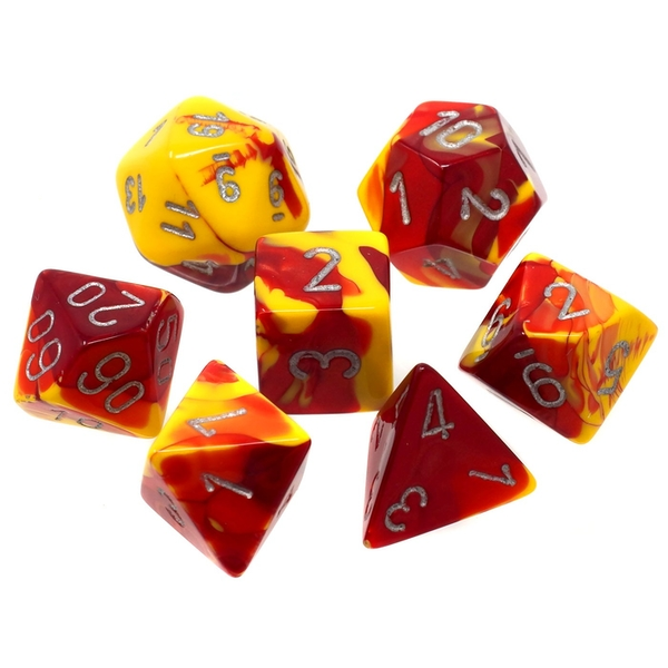 Chessex Gemini Poly 7 Dice Set: Red-Yellow/Silver