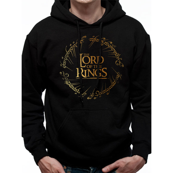 Lord Of The Rings - Gold Foil Logo Men's Large Hooded Sweatshirt - Black