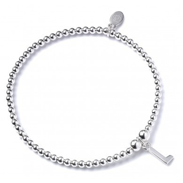 Initial L Charm with Sterling Silver Ball Bead Bracelet