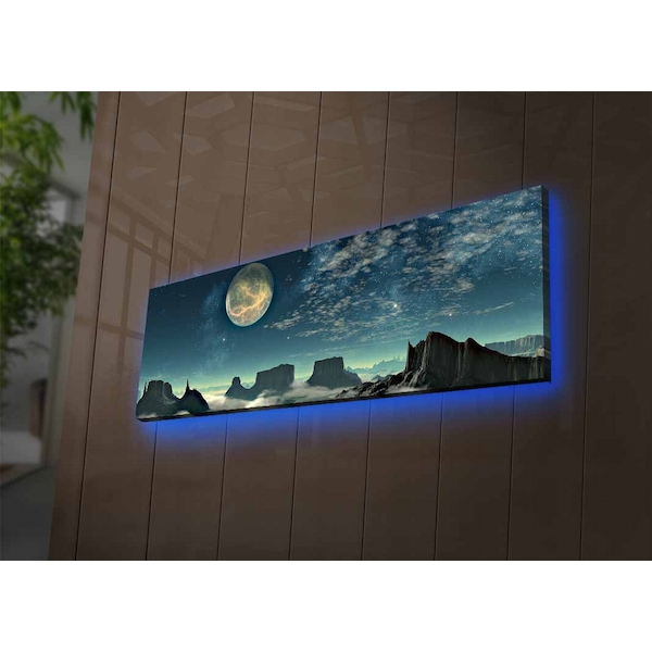 3090NASA-007 Multicolor Decorative Led Lighted Canvas Painting
