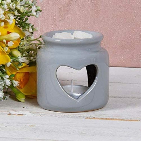 Ceramic Grey Wax Oil Warmer Heart By Lesser & Pavey