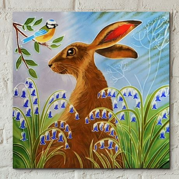 Tile 8x8 Hare in Bluebells By J. Yates Wall Art