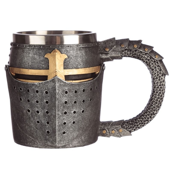 Decorative Medieval Helmet and Chain Mail Tankard