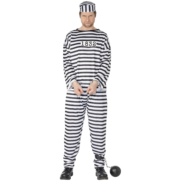 Men's Convict Costume with Shirt Trousers and Hat Medium
