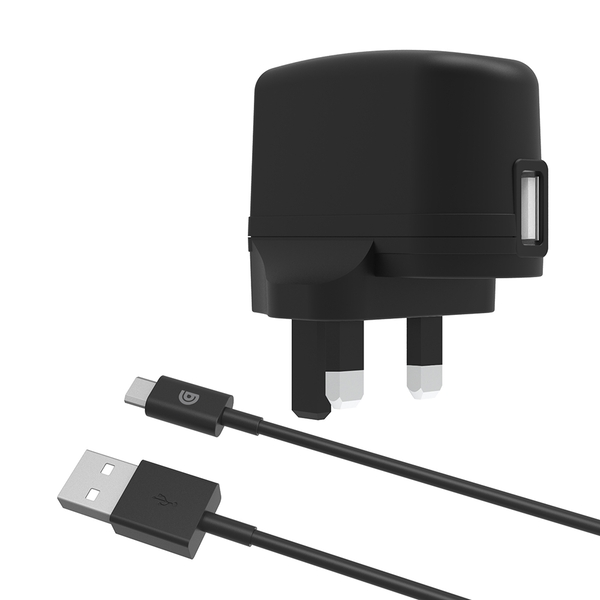 Griffin GP-011-BLK 2.4A Mains Charger with USB-A to Micro-USB Cable - Black UK Plug