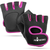Proworks Women's Padded Grip Fingerless Gym Gloves Black - Medium