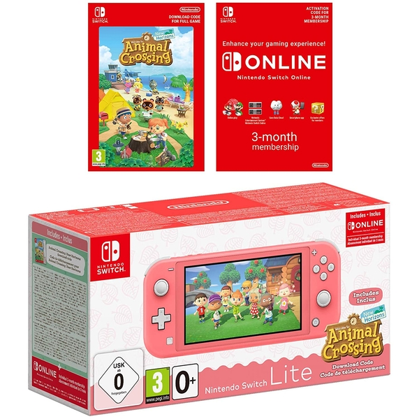 Nintendo Switch Lite Coral Plus Animal Crossing New Horizons + NSO 3 months