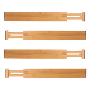Bamboo Adjustable Drawer Dividers - Pack of 4 Large