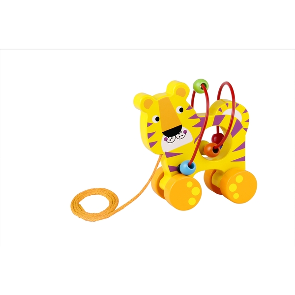 Tiger with Beads Wooden Pull Along Toy