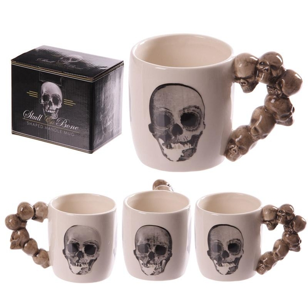 Skulls Stack Shaped Handle Ceramic Mug