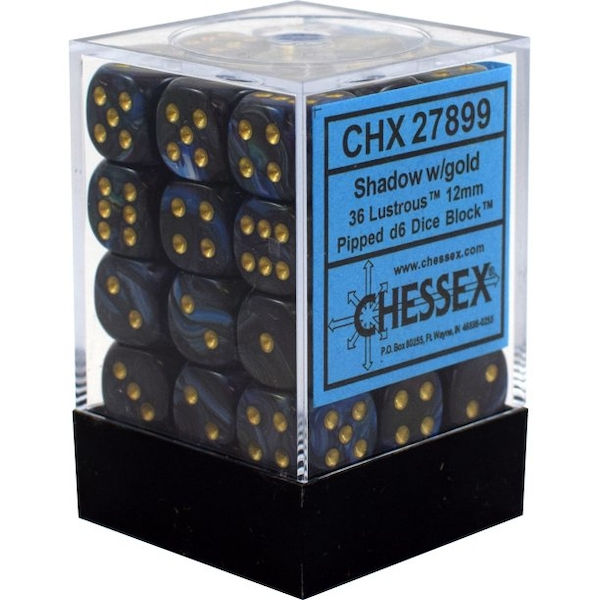 Chessex 12mm D6 Lustrous Shadow/gold 36 Dice Block
