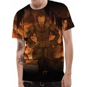 IT - Flames Sublimated Men's Small T-Shirt - Black