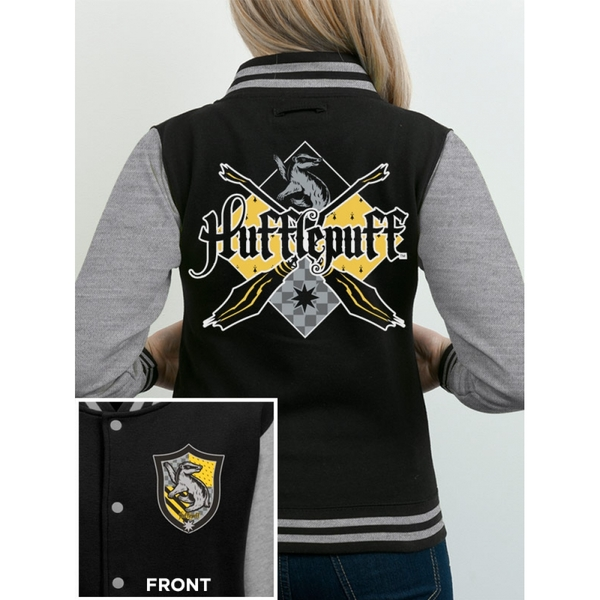 Harry Potter - House Hufflepuff Women's Large Varsity Jacket - Grey