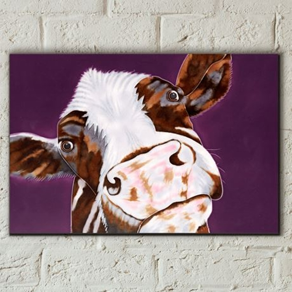 Tile 8x12 Soppy Cow By Sam Fenner Wall Art