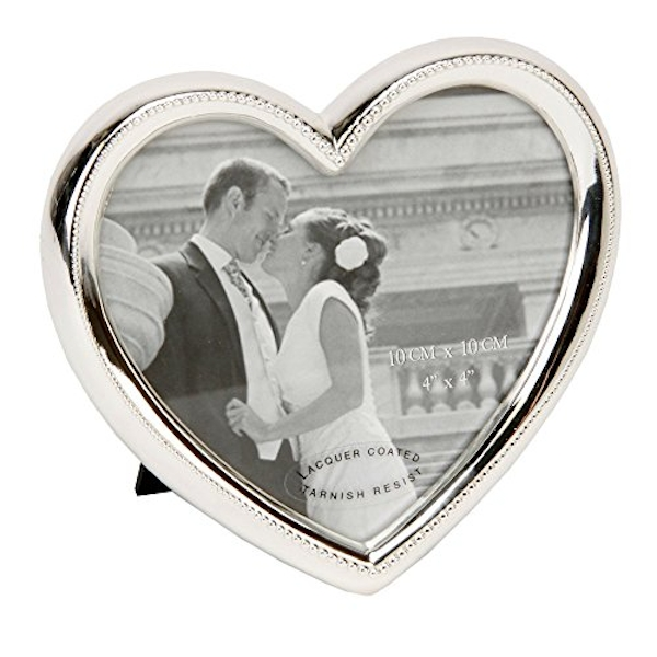 """4"""" x 4"""" - Celebrations Silver Plated Heart Photo Frame"""